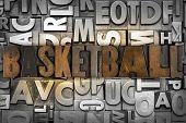 stock photo of ncaa  - The word BASKETBALL written in vintage letterpress type - JPG