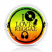foto of reggae  - Sticker i love reggae in colour with disk and mike - JPG