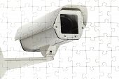 pic of crime solving  - On a puzzle a surveillance camera is shown - JPG