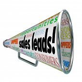 stock photo of clientele  - Sales Leads Bullhorn Megaphone New Customers Advertising - JPG