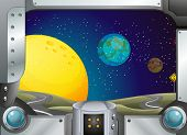 foto of outerspace  - Illustration of a metal frame with a view of the outerspace - JPG