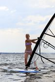 Front View Of Woman Windsurfing