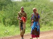 Marsabit, Kenya - November 27, 2008: Two Unknown Women Of The Tribe Tsonga Are On The Road.