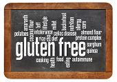 gluten free food word cloud on a vintage slate blackboard isolated on white
