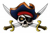 picture of saber  - A pirate skull with pirate hat and saber - JPG