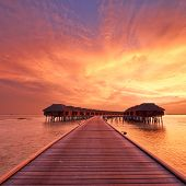 Beautiful sunset at Maldivian beach