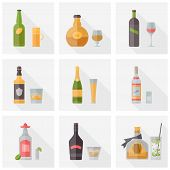 foto of alcoholic beverage  - Flat icons set of popular various alcoholic beverages with glasses - JPG