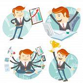 stock photo of winner man  - Vector Illustration Office man hipster set - JPG