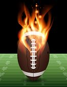 American Football On Fire Illustration poster