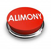 picture of mandate  - Alimony word on a red 3d button to get legal help from attorney in seeking spousal support or reduction in amount of payments - JPG