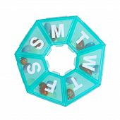 stock photo of heptagon  - Heptagonal dispenser for a week of pills isolated against a white background - JPG