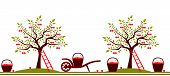 foto of hand-barrow  - vector seamless border with cherry trees - JPG