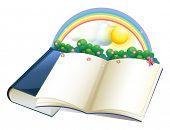 image of storybook  - Illustration of a storybook with a rainbow and plants on a white background - JPG