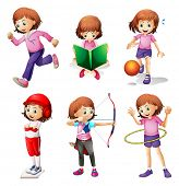 picture of hulahoop  - Illustration of a young girl doing different activities on a white background - JPG