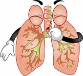 picture of cough  - Mascot Illustration Featuring a Pair of Lungs Trying to Cough Out Pleghm - JPG