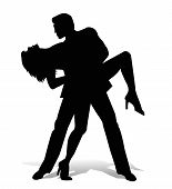 pic of tango  - vector dancer tango silhouette on white background - JPG