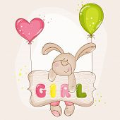 Постер, плакат: Baby Bunny with Balloons for Baby Shower or Baby Arrival Cards in vector