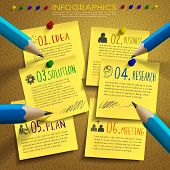 stock photo of bulletin board  - creative template infographic with post - JPG