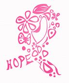 foto of  breasts  - Pink breast cancer awareness ribbon made of different shapes and the word hope isolated on white - JPG
