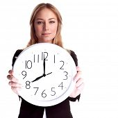 pic of clocks  - Portrait of beautiful blond woman wearing suit holding in hands clock - JPG