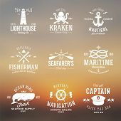 stock photo of steers  - Set of Vintage Nautical Labels or Signs With Retro Typography on Blured Background Anchors Steering Wheel Knots Seagulls and Wale - JPG
