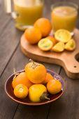 picture of fruit bowl  - Naranjilla or Lulo fruits  - JPG