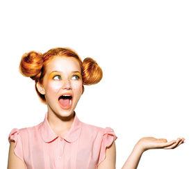 stock photo of schoolgirl  - Beauty Surprised Teenager Model Girl - JPG