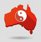 picture of ying-yang  - Illustration of an Australia map icon with a ying yang - JPG