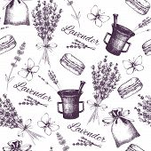 picture of lavender plant  - Vector seamless pattern with ink hand drawn lavender illustration in lilac color - JPG
