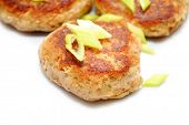 foto of crab-cakes  - Close Up of Fish Cakes with Sliced scallions - JPG