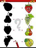 picture of brain-teaser  - Cartoon Illustration of Education Shadow Matching Game for Preschool Children - JPG