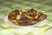 picture of raw chicken sausage  - Sausage steak mixed meat grilled on a plate - JPG