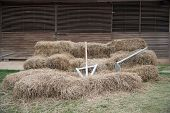 picture of hoe  - hoe and spade on stack front of wooden 5 farm shed - JPG