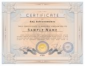 pic of macrame  - Vintage certificate template with detailed border and calligraphic elements on pink paper with safety watermarks in vector - JPG
