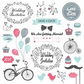 stock photo of invitation  - set of vector vintage - JPG