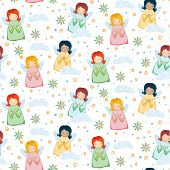picture of little angel  - Seamless Pattern with Little Cute Angels - JPG