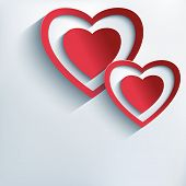 picture of two hearts  - Stylish creative background with two red grey paper 3d hearts - JPG