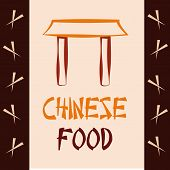 image of chinese menu  - a colored background with chopsticks and text for chinese menu - JPG