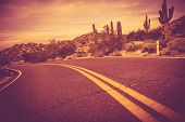 pic of curves  - Curved Arizona Desert Road - JPG