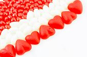 picture of jelly beans  - Assorted Valentine candies of Jube hearts - JPG
