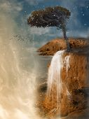 picture of cliffs  - Fantasy Landscape in a cliff with tree art and illustration - JPG