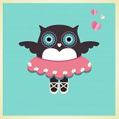 stock photo of owls  - Sweet owl in Ballet slippers tutu and hearts  - JPG