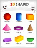 image of cylinder pyramid  - Printable sheet of a collection of colorful 3D shapes with their correct name for kindergarten  - JPG