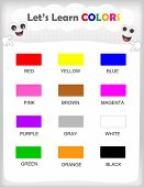 foto of kindergarten  - Printable kids learning sheet with 12different colors and their names for kindergarten  - JPG