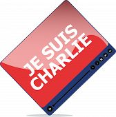 picture of extremist  - Je Suis Charlie text on media player movement against terrorism - JPG