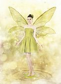 foto of woman dragon  - Beautiful young woman as spring fairy on golden magical background - JPG