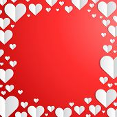 stock photo of paper cut out  - Valentines Day frame with cut paper hearts on the edges - JPG