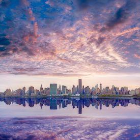 picture of nightfall  - Manhattan New York skyline at sunset from East River dusk USA - JPG