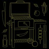 foto of barbecue grill  - Vector illustration of the grill and barbecue beef pork and chicken grilled image ovens barbecue tools and vegetables - JPG