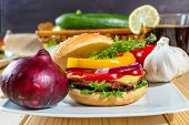 pic of hamburger-steak  - homemade hamburger with fresh vegetables close up - JPG
